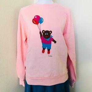 🎈Vintage 80s Pink Teddy Bear Sweatshirt Adult L🎈